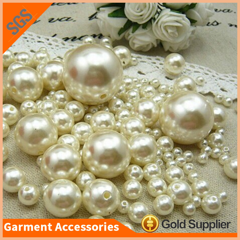 Large Hole Round Loose ABS Plastic Beads Imitation Pearl For Dress