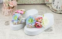 New arrive Handmade women flowers white Beach High Platform Flip Flops slippers