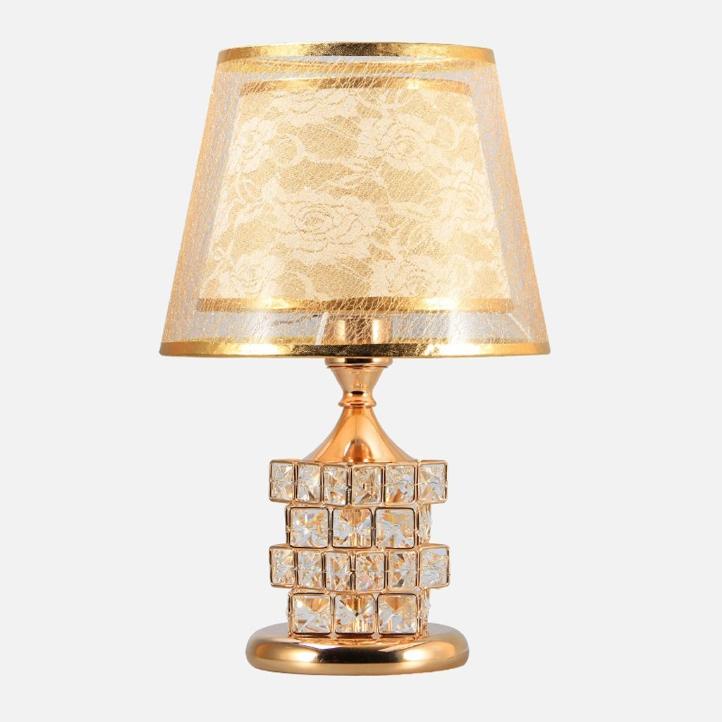 WENBO HOME- Table Lamp Bedroom Bedside Lamp Crystal European Luxury Wedding Table Lamp Creative Cube Warm Bedroom Decoration Lamp -Desktop lamp