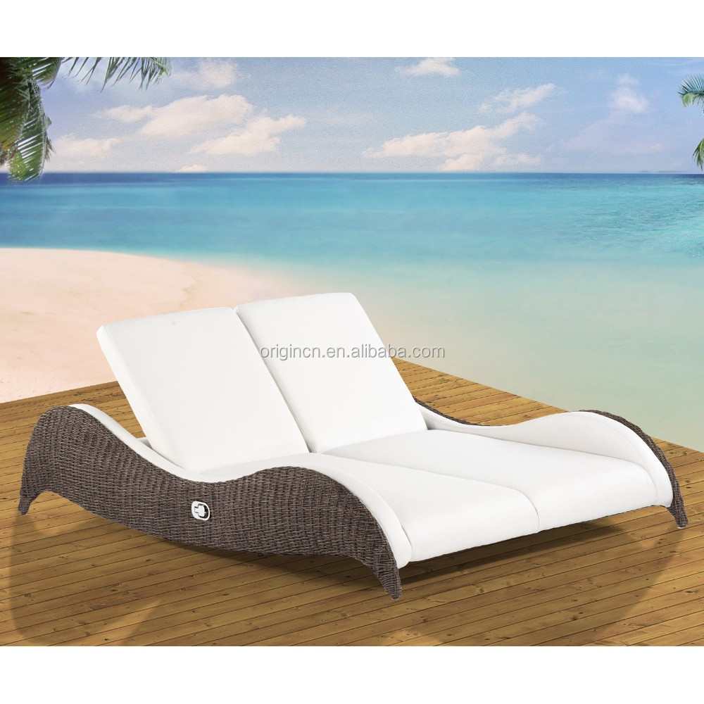 Cozy Modern Design Outdoor Rattan Chaise Lounge Furniture Double Sunbeds  For Beach   Buy Sunbeds For Beach,Lounge Furniture,Rattan Sunbed Product On  ...