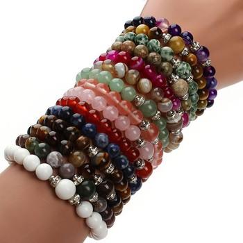 Natural Stone Bracelets Women Men Beaded Yoga