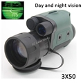 Gen1 day night vision sight 3X50 monocular infrared night vision goggles telescope for hunting night scope