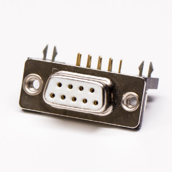 High powered hole through 90degree white rubber core db9 pin female connector