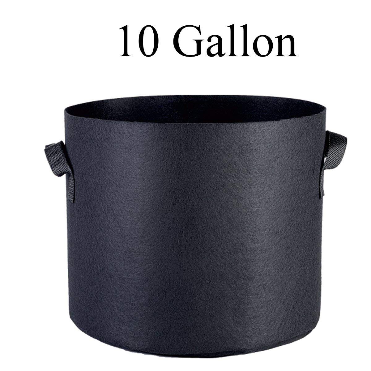PrimeGarden 3 /6 /12 /24-Pack 1 2 3 5 7 10 15 20 25 30 45 65 100 Gallon Grow Bags Heavy Duty Plant Aeration Fabric Nursery Pots Container for Gardening Plants Flowers & Vegetables (12-Pack, 10 Gallon)