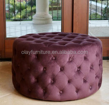 Purple Round Chesterfield Fabric Ottomans Coffee Table Ottoman
