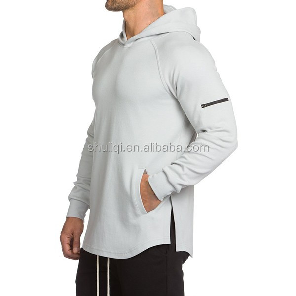 798add171 Gym Fitted Longline Hoodie Mens Curved Hem Long Tops Muscle Bodybuilding  Gym Hoodie Cotton Spandex Plain