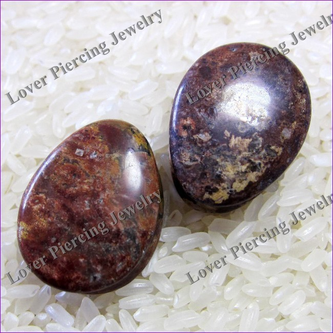 Teardrop Leopard Skin Jasper Natural Stone Ear Plugs Tunnel [SE-T311]