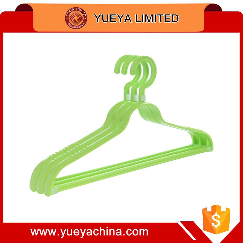 Wholesale products china pure color anti-slip plastic laundry clother hanger, package of 3pcs-green