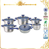 MSF-L3046 wholesale technique 12pcs stainless steel cookware set super capsule bottom cookware
