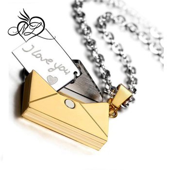 """I Love You"" Stainless Steel Love Letter Envelope Pendant Necklace"