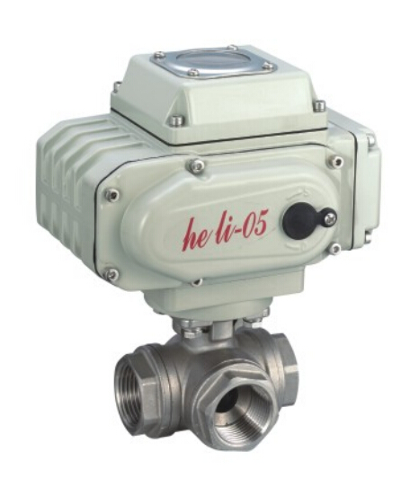 Motorized three way ball valve with threaded