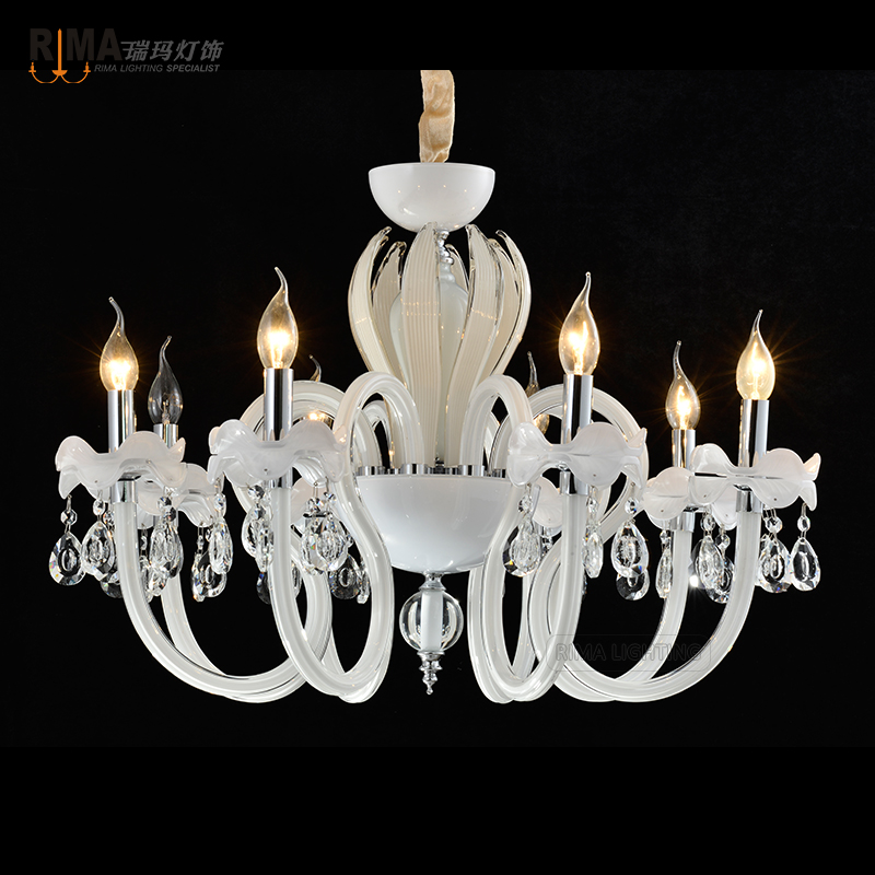 Modern Home Decorative Lighting White Murano Glass Crystal Chandelier RM8811-8