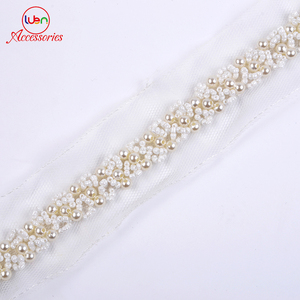 Wholesale 4cm Pearl Beaded Lace Trim for Garment