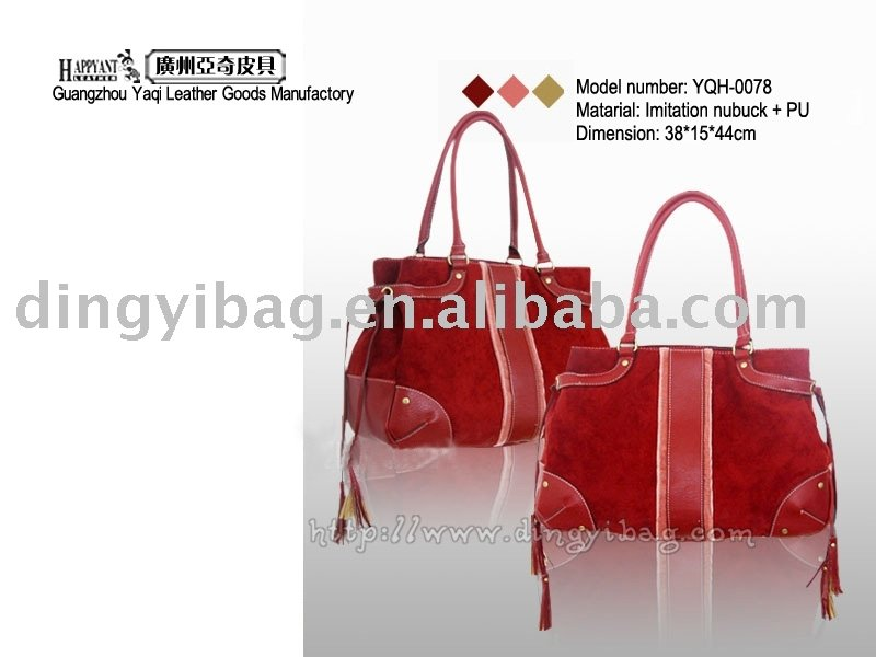 Lady Maroon fringe imitation nubuck single rope Hand Bag
