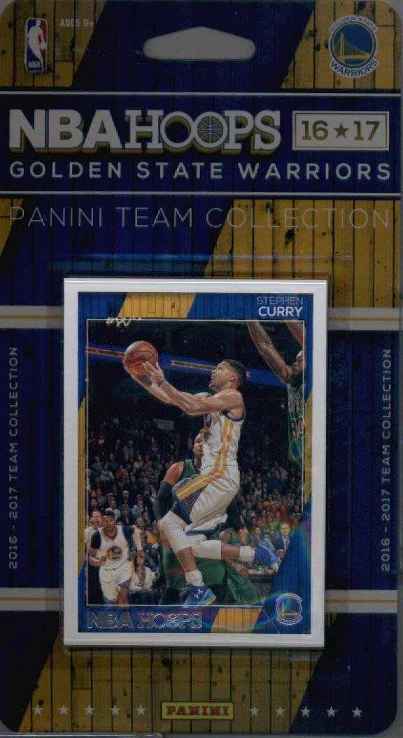 2016-17 Panini NBA Hoops FACTORY SEALED Golden State Warriors Team Set of 9 Cards: Zaza Pachulia(#84), Stephen Curry(#148), Klay Thompson(#149), Draymond Green(#150), David West(#236), Kevin Durant(#240), Shaun Livingston(#251), Damian Jones(#286), Patrick McCaw(#293)