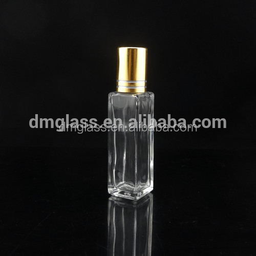 Square clear perfume/ essential oil roll on glass bottle 10ml wholesale