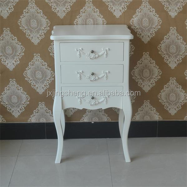 Wooden Cream Antique Shabby Chic Bedside Table With 3 Drawer Cabinet