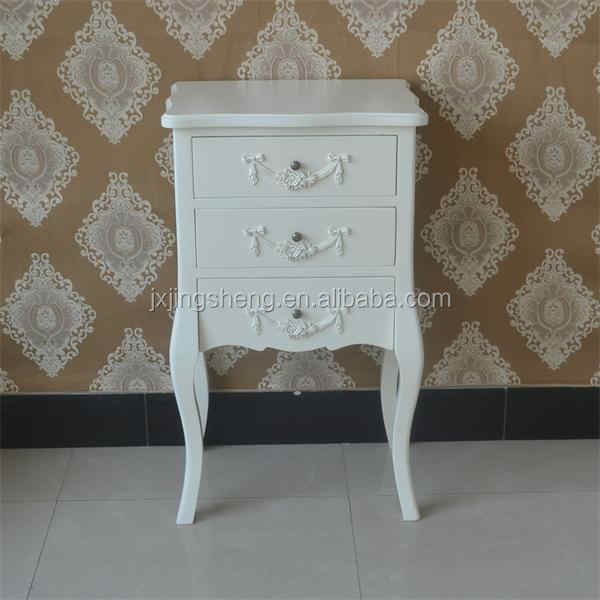 Smalle Witte Sidetable.Wooden Cream Antique Shabby Chic Bedside Table With 3 Drawer