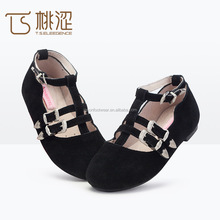 Fashion folkway buckle ornament kids dolly ballet flats shoes