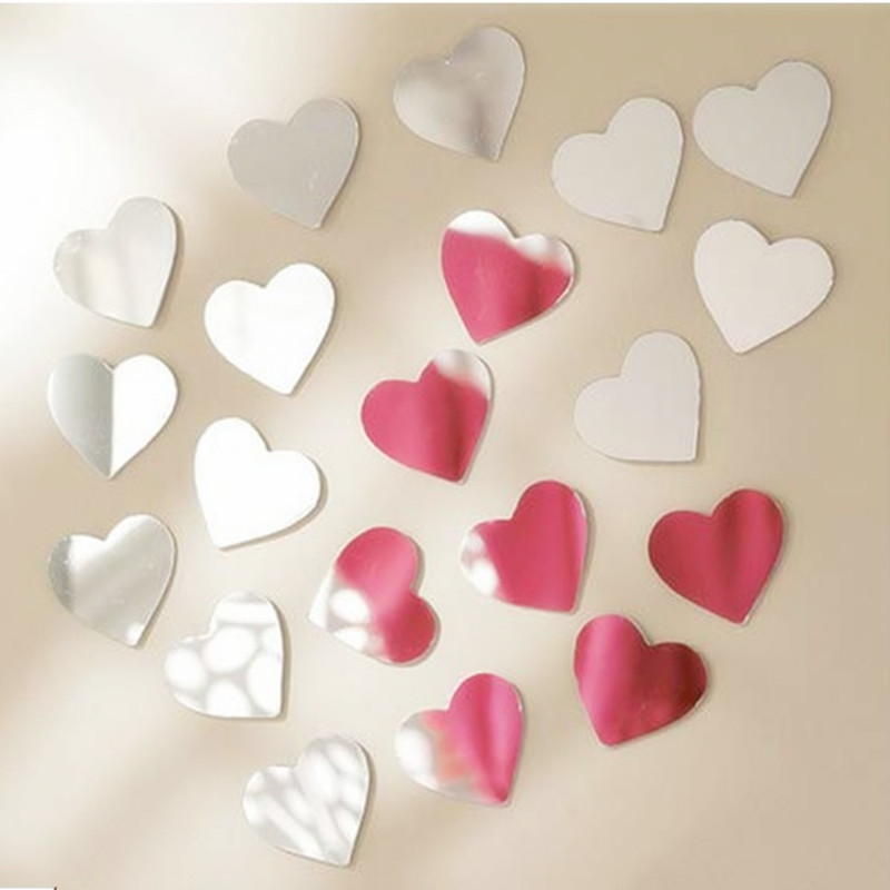 Heart Wall Mirror Sticker ,DIY Hearts Mirror Art Peel And Stick Acrylic Wall Mirror Decals &Murals For Wedding Home Room