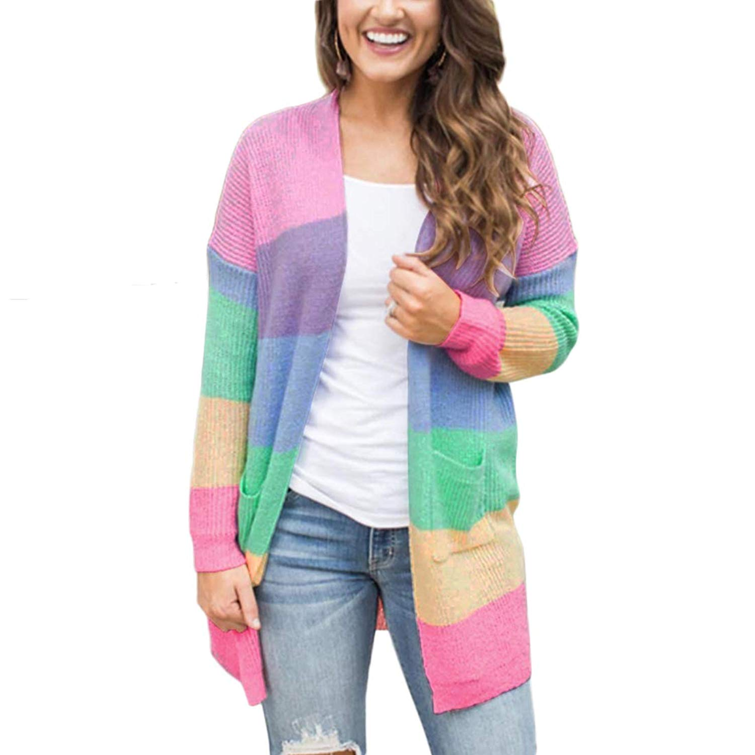 NEXLOMOS Womens Autumn Rainbow Color Stripe Long Sleeve Knitting Long Cardigan with Pocket Casual Sweater