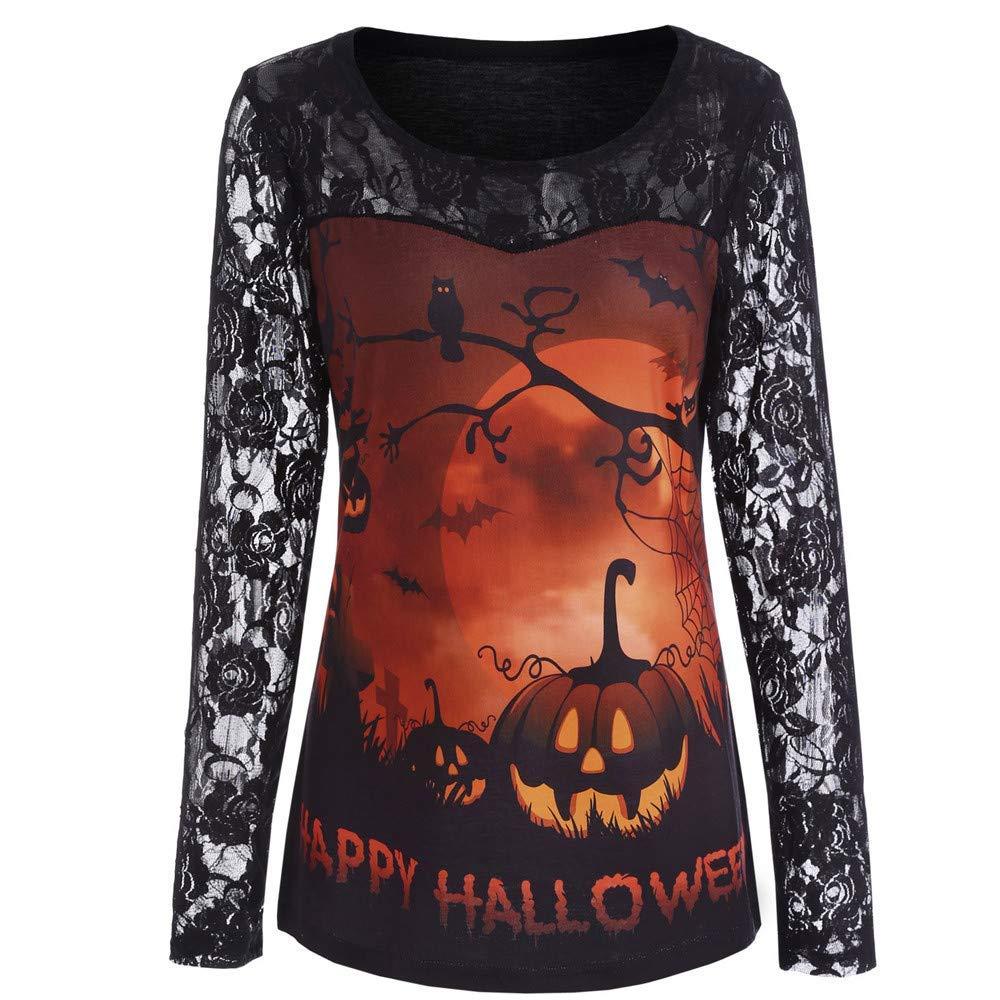 POTO Women Halloween Pumpkin Sweatshirt,Long Sleeve Lace Insert Shirt Pullover Tops Blouse T Shirts