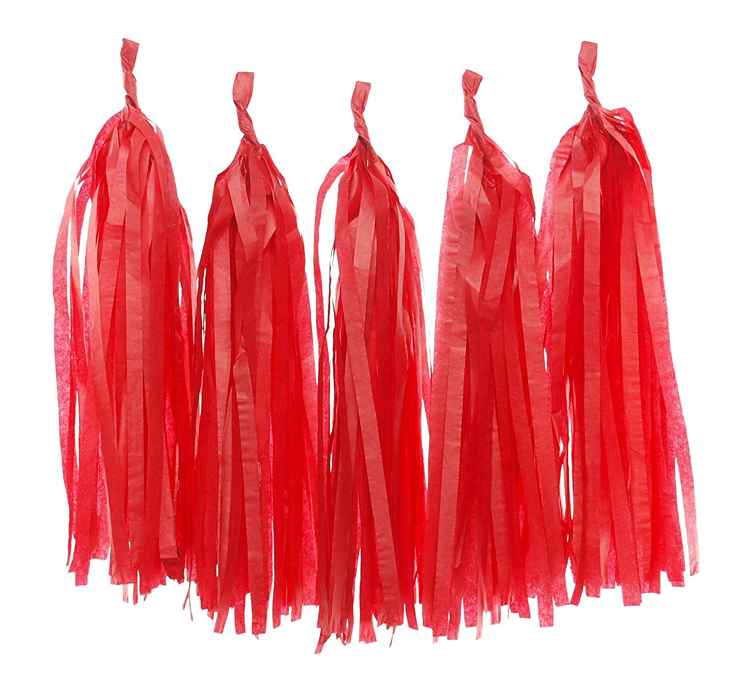 Red Tissue Garland, Wedding Banner Tassels (Set of 5) - Party Backdrops, Paper Streamers, Christmas Party Decorations, Paper Tassel Garland