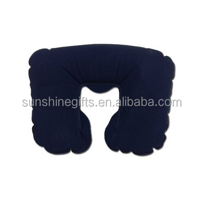 china products Colorful velvet U-shape inflatable neck pillow for travel