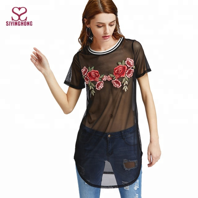 Sincere Summer Women Shirts Fashion Transparent Embroidery Lace Up Bandage Pink Floral Crop Tops Blouse Ladies Flower Bandage Clothes Latest Technology Blouses & Shirts