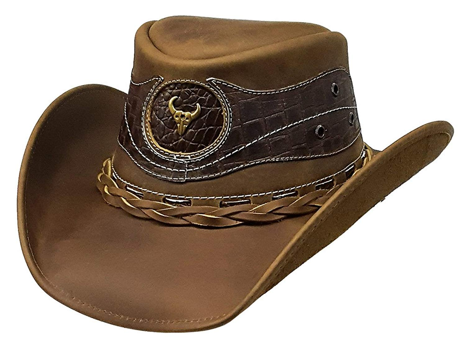 Get Quotations · Modestone Antiqued Leather Cowboy Hat Crocodile Skin  Pattern Applique cf0661f92773