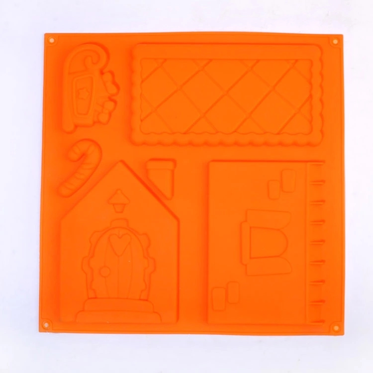 FDA/LFGB Christmas house silicone chocolate mold for Christmas in home kitchen supplies