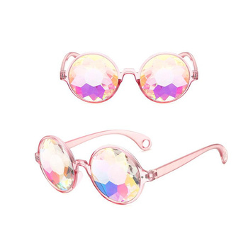 Round Frame Women Sun Glasses Street Retro Mirrored Sunglasses Vintage Resin Glass Magic Shades for Disco Dancing Party NGD0597