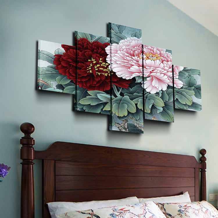5 pieces of peony flower micro spray wall decoration canvas Canvas custom printing Art Wholesale