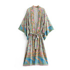 Bohemia style printed cardigan women beach wear summer Kimono sun protection blouse with belt