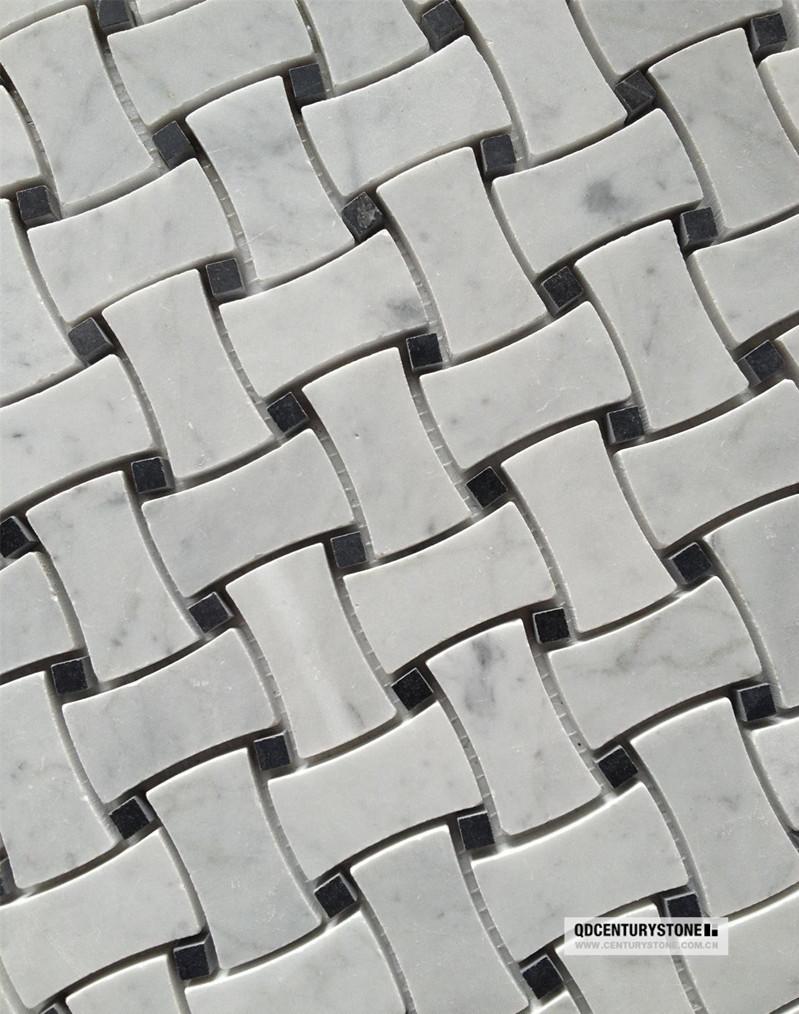 Black And White Honed Dog Bone Non Slip Flooring Marble Mosaic