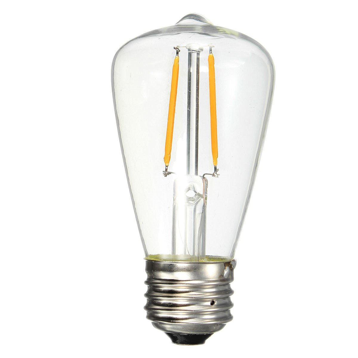 KINGSO E27 2W ST48 Cob Led Vintage Light Bulb Retro Edison Style Screw Technology 20W Incandescent Bulb Equivalent Old Fashioned Squirrel Cage Filament Not Dimmable Warm White 2700K 200lm Unique Designer Amber Tinted 110-240V