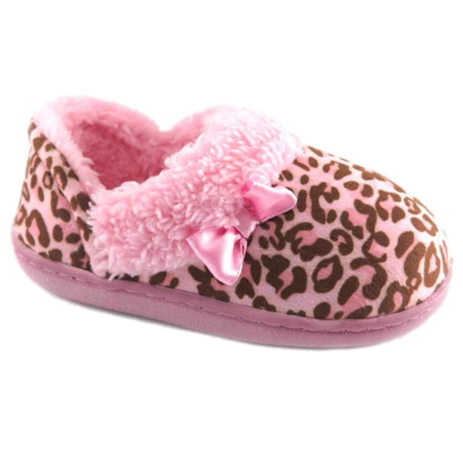 f53c6de102c Get Quotations · WMS Toddler Girls Fuzzy Pink Leopard Print Aline Loafer  Style Slippers House Shoes