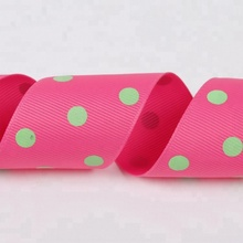 38mm polka dot printing pink polyester grosgrain ribbon wholesale