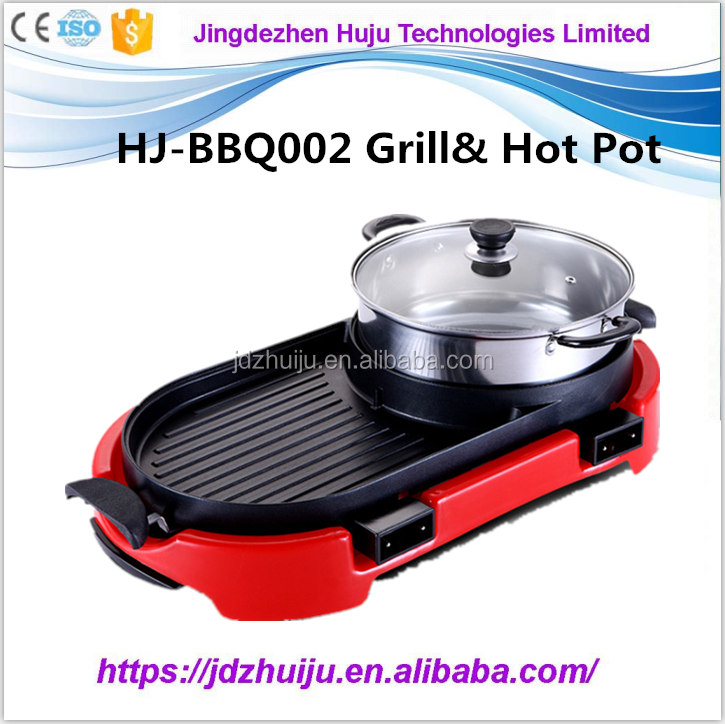 Fast heating of the food stainless steel indoor electric bbq grill with hot pot