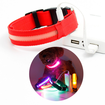 2018 Adjustable Pet Dog Cat Waterproof LED Light Flash Night Safety Collar USB rechargeable led dog collar