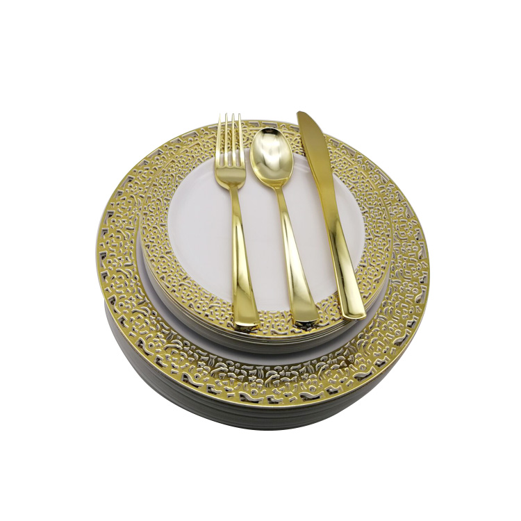 150PCS Gold Plastic Plates with Disposable Plastic Silverware,Lace Design Plastic Tableware sets include 25 Dinner Plates
