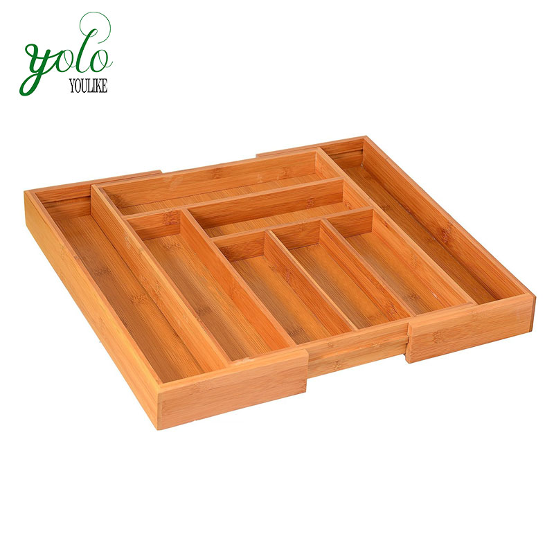 Bamboo Expandable Cutlery Tray Drawer Organizer, Utensil Organizer Flatware Drawer Dividers