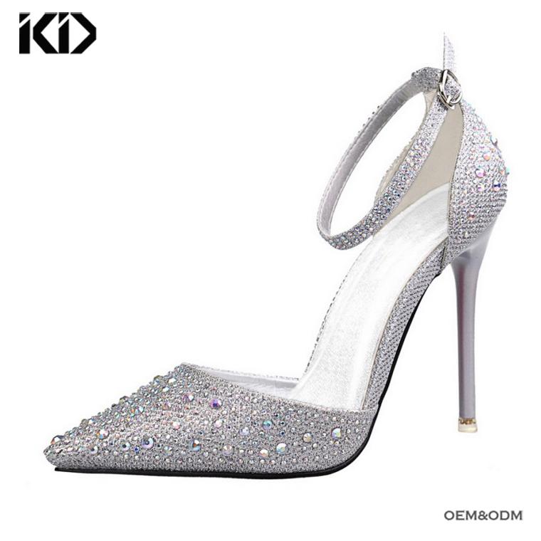 1489b91a9c Alibaba caliente-Venta de tacón bombas nueva brillantes de tacón alto  zapatos de boda rhinestone