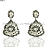 Women 14k Yellow Gold Rose Cut Diamond Pave 925 Sterling Silver Earrings Vintage Victorian Jewelry