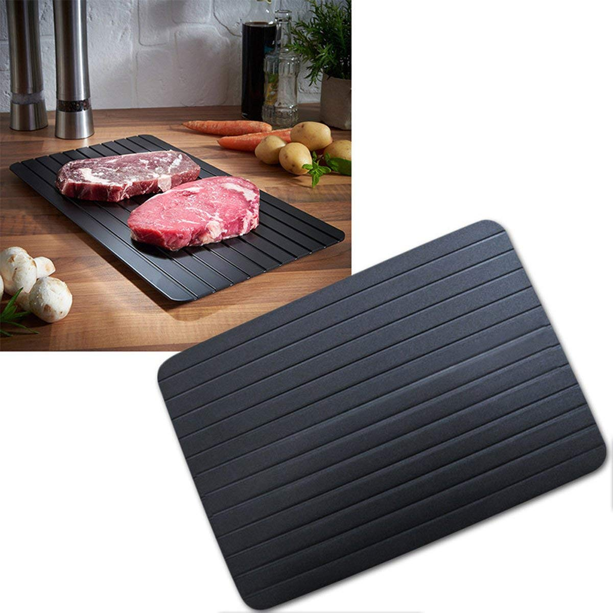 TECHSON Fast Defrosting Meat Tray, Quickly Safety Aluminum Thawing Plate for Frozen Meat Fish Food