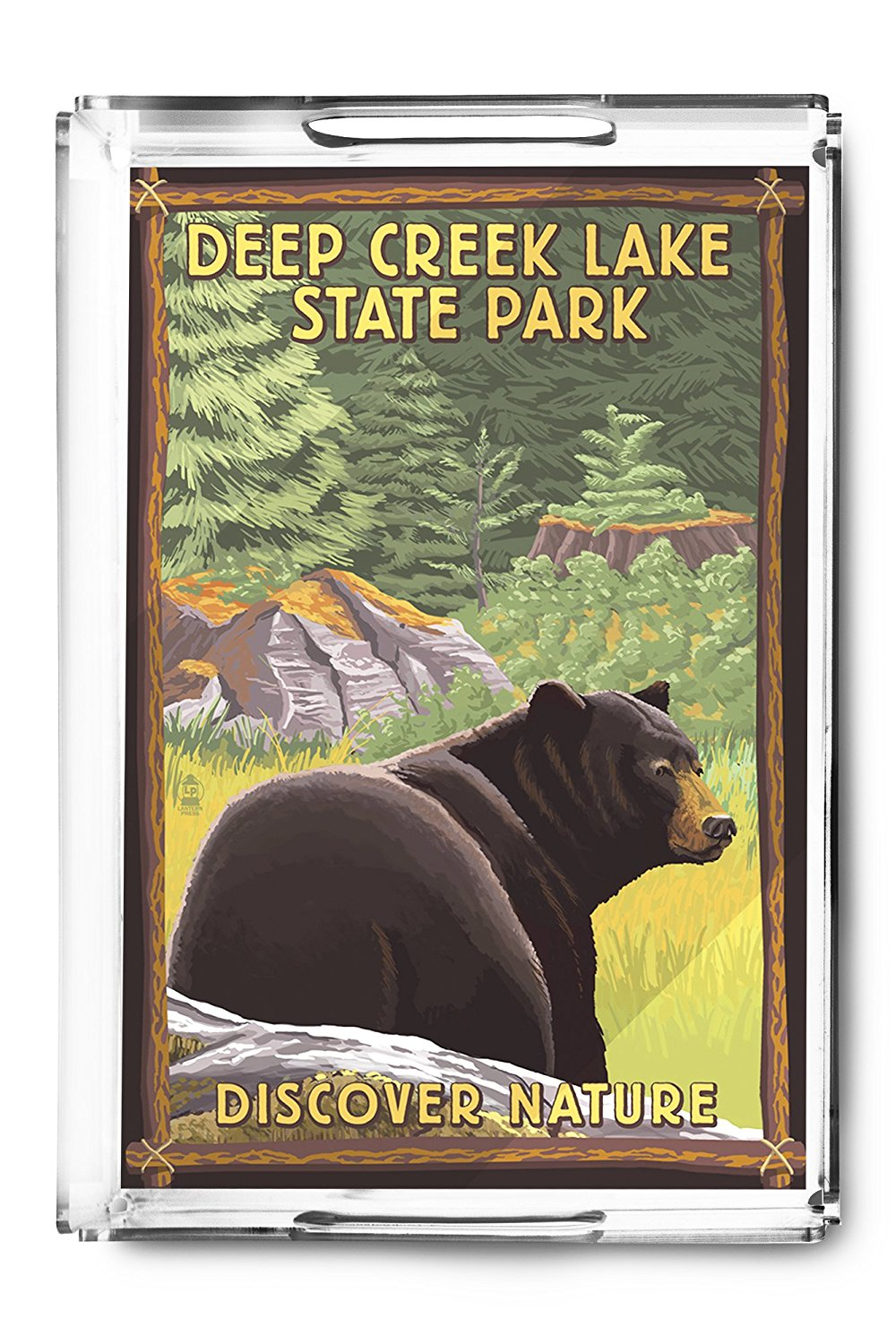 Deep Creek Lake State Park, Maryland - Bear in Forest (Acrylic Serving Tray)