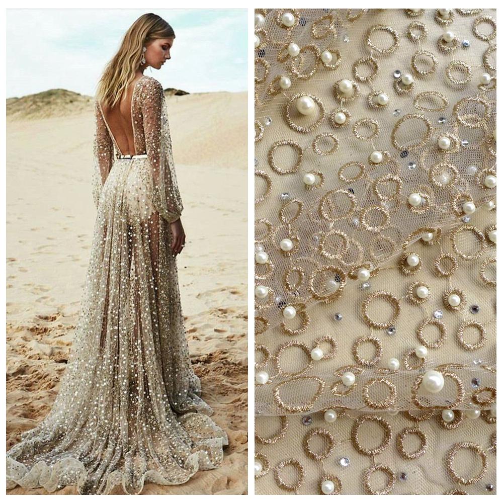 La Belleza One Yard Gold Metallic Stones Pearls Heavy Embroidered