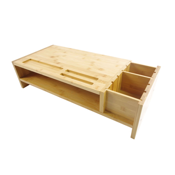 Double layer Bamboo Monitor riser  Stand with storage organizer