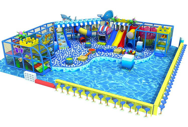 ขนาดใหญ่ของเล่นเด็กในร่มสไลด์สระว่ายน้ำสนามเด็กเล่นพลาสติกเด็กในร่ม play center สำหรับ commercial ขาย