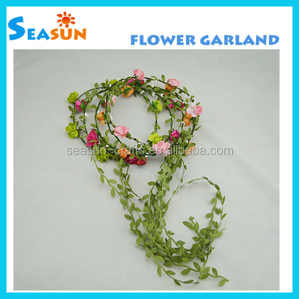 Handmade Top Quality 6pcs Pink Paper Flowers Garland Hair Band ...
